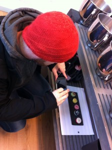 Taking pics of the pretty display macaroons